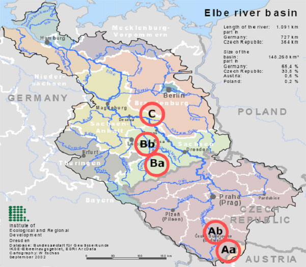 Map of the Elbe river basin showing pilot site locations Click for a